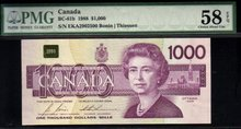 1988 $1000 BANK OF CANADA   BC-61b  PMG58