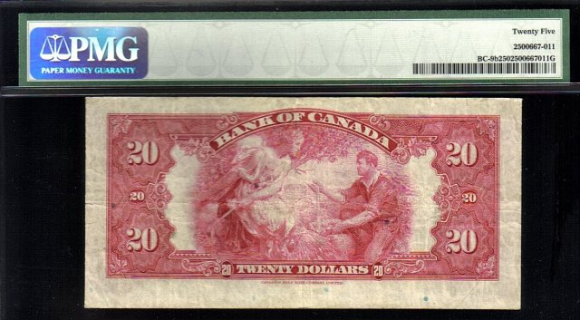 1935 $20 BANK OF CANADA   BC-9b  PMG25 amazing banknote