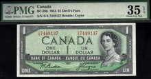 1954 $1 BANK OF CANADA BC-29b PMG35 devils face amazing banknote!