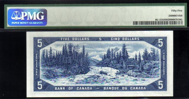 1954 $5  BANK OF CANADA   BC-31b  PMG55 devils face
