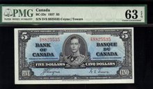 1937 $5  BANK OF CANADA   BC-23c  PMG63