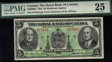 1943 $5  ROYAL BANK OF CANADA PMG25