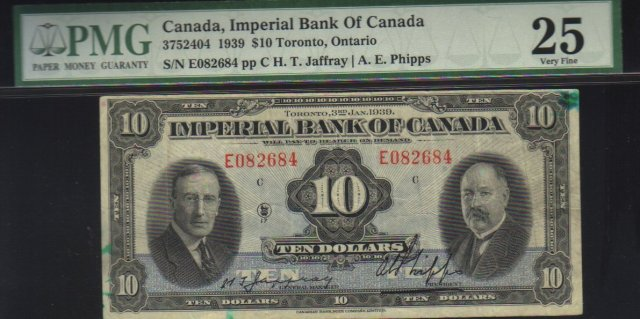 1939 $10 IMPERIAL BANK OF CANADA PMG25 amazing banknote!