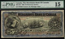 The Merchants Bank of Canada 1900 $5 CH-460-14-04 PMG 15
