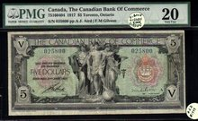 The Canadian Bank of Commerce, 1917 $5 #025800, CH-75-16-04-04 RARE 'Gibson' signature. PMG 20!