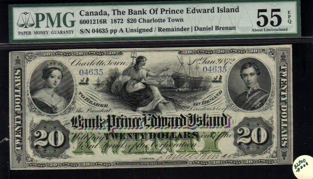 The Bank of Prince Edward Island 1872 $20 PMG55