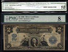 1899 $2 SILVER CERTIFICATE FR# 258 PMG8 CGA 10