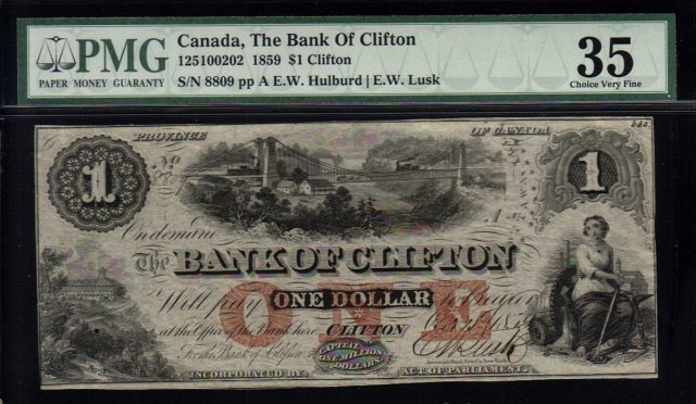 Canada Bank of Clifton 1 Dollar 1859  PMG 35