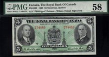 1935 ROYAL BANK OF CANADA $5   PMG 58 AU/UNC