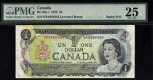 2 digit 1973 $1  BANK OF CANADA $1   radar 4446444