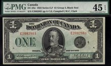 1923 DOMINION OF CANADA 1 DOLLARS (BLACK SEAL GRP 4) PMG 45
