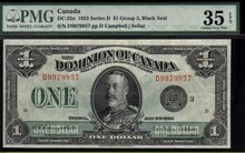 1923 DOMINION OF CANADA 1 DOLLARS (BLACK SEAL GRP 3) PMG 35