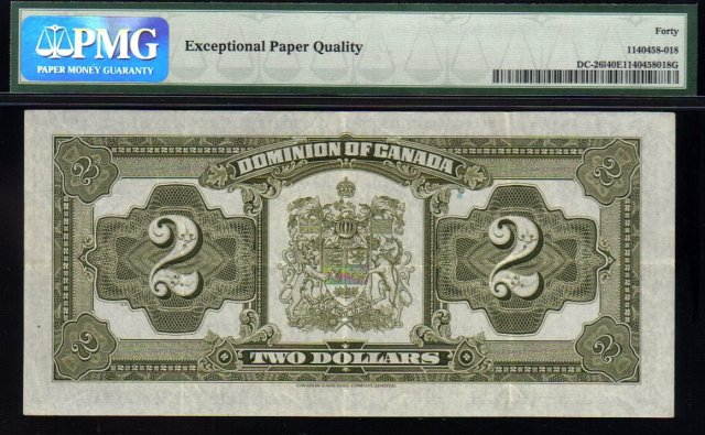 1923 DOMINION OF CANADA 2 DOLLARS (BLACK SEAL GRP 4) PMG 40