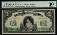 1917 DOMINION OF CANADA 1 DOLLARS (princess patricia) PMG 30