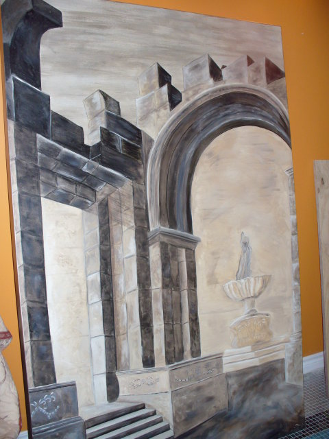 Original Oil on Canvas Roman Arch painting