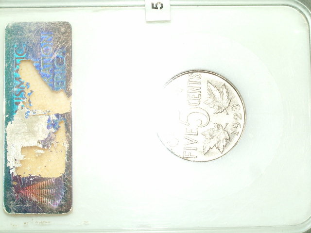 1923 canada 5 cents high grade