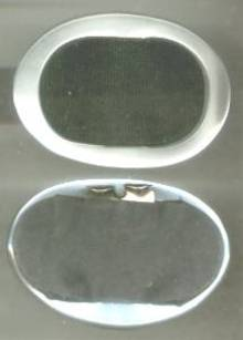 Shoe Clips/Silvery White Plastic Ovals W/Black Grosgrain Inserts