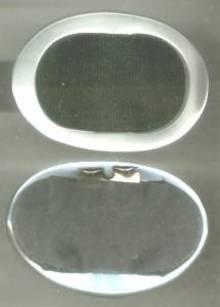 Shoe Clips/Silvery White Plastic Ovals W/Black Grosgrain Inserts