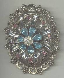 Brooch/W/Large Aqua Pear Shaped R/S