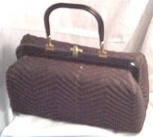 Purse/Woven Brown Plastic Cord/Box Style