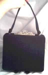 Purse/Mel-Ton/Black Wool W/Jeweled Clasp