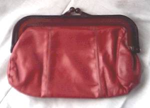 Purse/Clutch/Red Leather W/Faux Tortise Frame/Made in Hong Kong