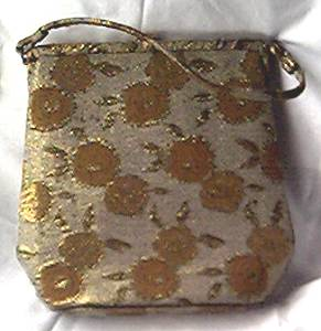 Purse/Lewis W/A Crown/Gold & Copper Tapestry