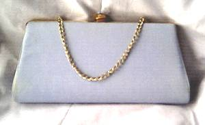 Purse/Clutch/Pale Blue Fabric W/Jeweled Clasp