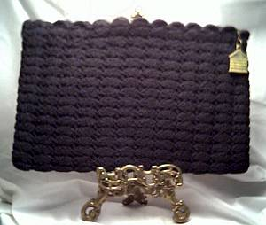 Purse/Black Crocheted Clutch W/Plastic Dog House Pull