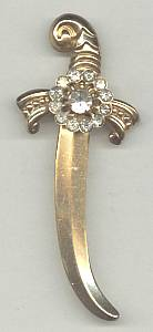 Brooch/Designer/Coro Gold Plated Sword W/Clear Rhinestones