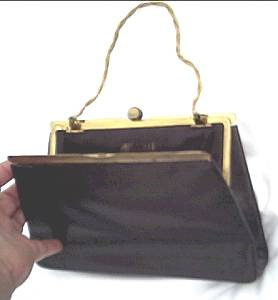 Purse/Black Leather By Rosenfled