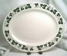Porcelain/China/Homer Laughlin Platter/Green Ivy Border