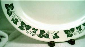 Porcelain/China/Homer Laughlin Platter/Green Ivy Border