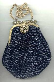 Purse/Black Beaded Mail  W/Jeweled Clasp