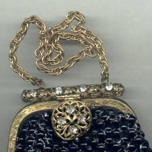 Purse/Black Beaded Mail  W/Jeweled Clasp