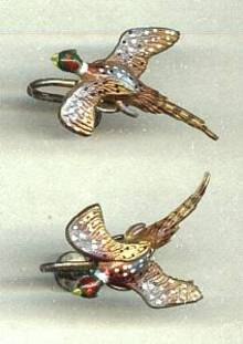 Earrings/Screw Backs/Hand Painted Plastic Pheasant