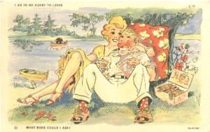 Ephemera/Postcard-1939-Couple Under Tree(Vacation Comics)