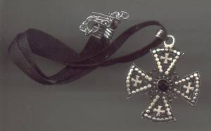Necklace/Coker/Contemporary Ribbon W/Silvertone Pot Metal Gothic-Maltese Type Cross