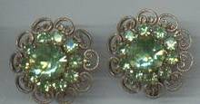 Earrings/Clip Ons/Peridot Colored Glass Rhinestones/Brass Filligree