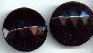 Earrings/Clip Ons/Large Faceted Black Glass Buttons