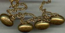 Bracelet/C. 1930's Gilt Brass Footballs