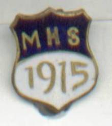 School Pin/Enameled Brass Sheild Shaped/Dated-1915/MHS