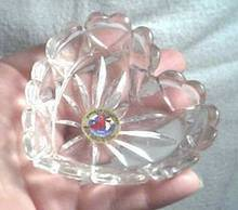 Glass/Small German Crystal Heart Trinket Dish/Hofbauer Collection