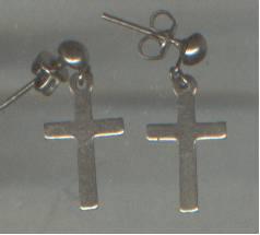 Earrings/Pierced/Christian/Silvertone Crosses