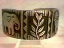 Bracelet/Designer/J.B. Hunt/Wide Silvertone W/Animal&Foliate Motif