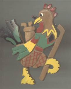 Brooch/Painted Wood W/Carved Details/Golfing Rooster