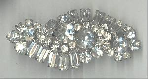 Brooch/C.1965 Lg. Clear Rhinestone