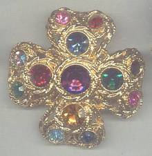 Brooch/Heavy Goldtone Cross W/Multi Color Rhinestones