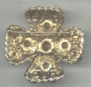 Brooch/Heavy Goldtone Cross W/Multi Color Rhinestones