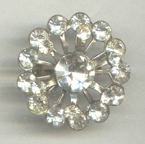 Brooch/Small C. 1950's Round Rhinestone Scatter Pin